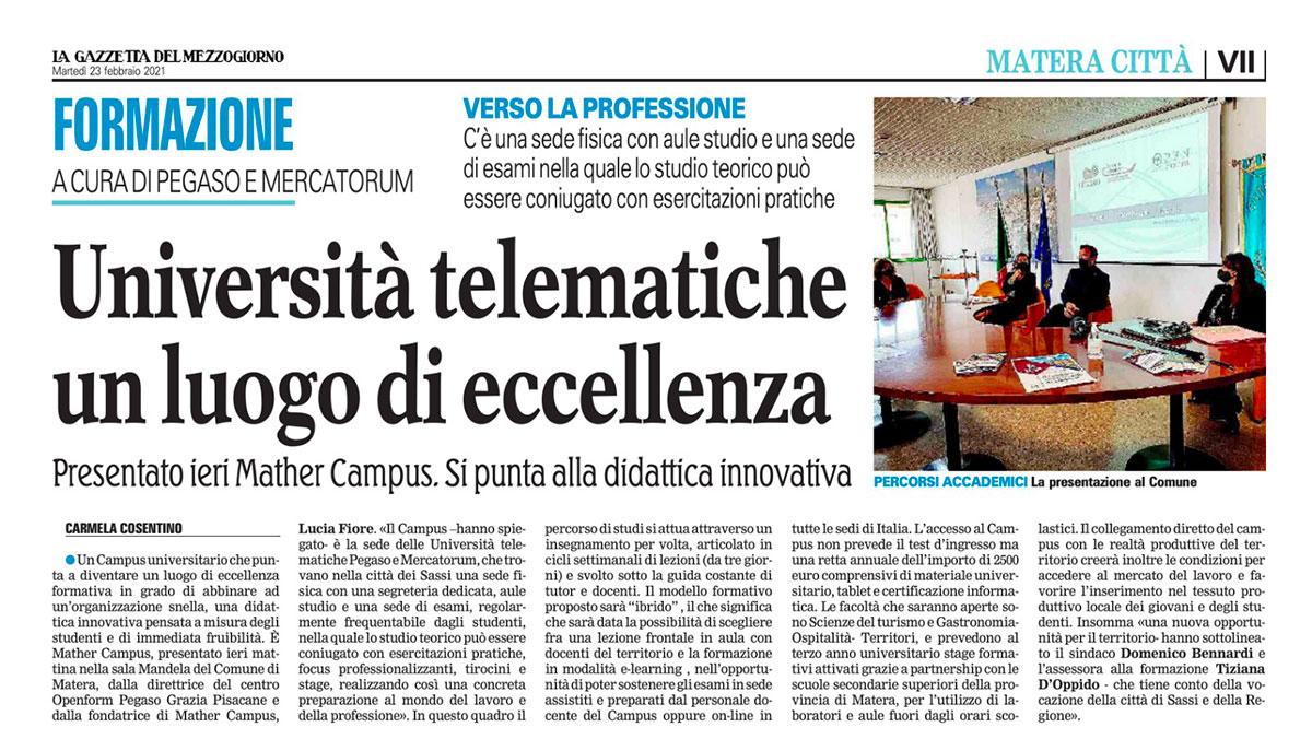 articolo-gazzetta-del-mezzogiorno-23-febbraio-2021-mather-campus-universita-telematica-pegaso-mercatorum-matera-basilicata